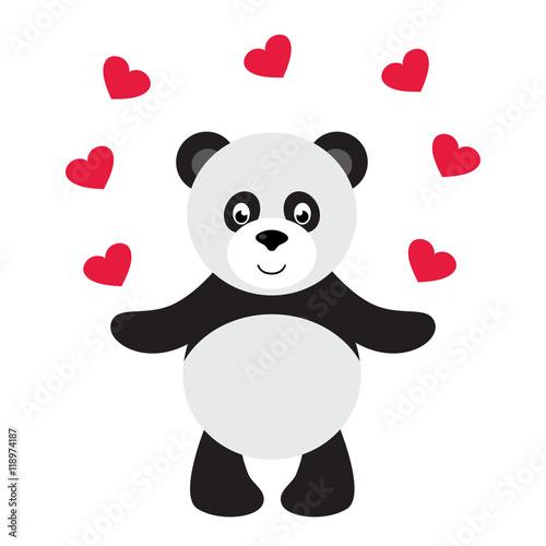 """cartoon panda and heart"" Stock image and royalty-free ..."