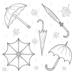Set of Hand Drawn autumn umbrellas, leaves and drops. Vector illustration.