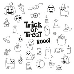 Cute trick or treat halloween collection. Vector doodles illustr