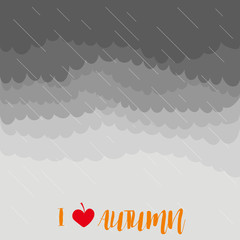 Stormy autumn sky with rain, vector illustration
