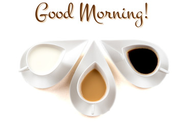 good morning concept with three coffee cups