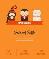 Happy Halloween. Party invitation with cute cartoon children in colorful costumes