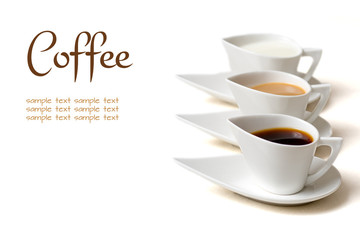 coffee concept with three coffee cups