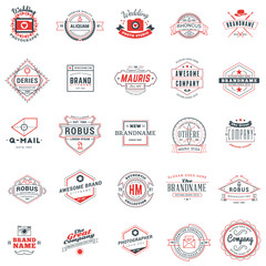 Set of retro logotype templates. Collection of 25 items. Typographic badges. Icon symbols. Labels. Black and Red colors