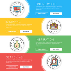Set of flat line business website banner templates. Template for wesite headers. Vector illustration. Modern thin line icons in circle. Online Work, Shopping, Inspiration, Information Search