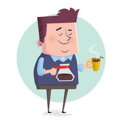 Businessman drinking coffee during break