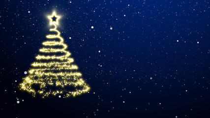 Golden lights Christmas tree with a star treetopper. Blue background with snowflakes.