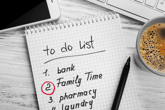 To do list. Family time concept