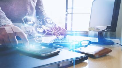 Businessman using mobile smart phone.Social media,social network