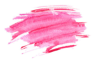 Bright pink wet brush strokes painted in watercolor on white isolated background