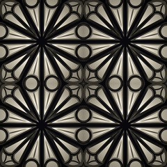Vintage Seamless 3d texture based on sacred geometry. The pattern of the elements of a Gothic church: circles, crosses, intersection. Dark version.