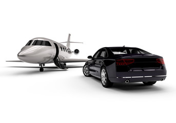 High Class transportation / 3D render image of a private jet with an expensive limousine representing high class transportation
