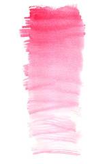 Long vertical pink gradient stripe painted in watercolor on white isolated background