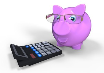accounting officer / 3D render image representing a piggy bank and a calculator