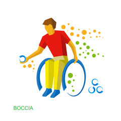 Physically disabled boccia player. Flat sport icon.