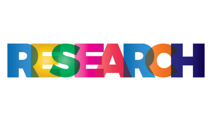 The word research. Vector banner with text colored rainbow