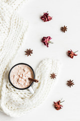 Autumn. Hot chocolate, knitted blanket, dried flowers and leaves. Flat lay, top view