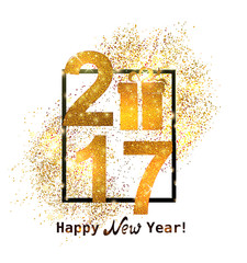 The gold glitter New Year 2017 in modern style with  gift box icon