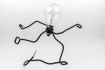 Fantasy figure of a light bulb and wire.