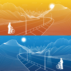 The road in the mountains, day and night scene, cyclist preparing for a trip, neon city on background, white lines landscape, vector design art