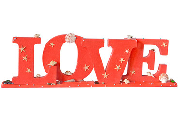 """the word """" Love"""" in red letters"""