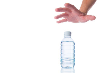 hand reaching out for bottle of water