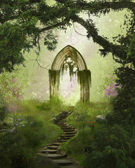 Fantasy antique gate in the forest