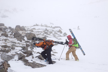 Two backcountry skiers in Pony, Montana.