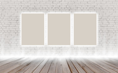 Mock up poster in vintage glowing loft interior, background, template design