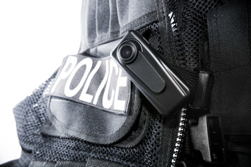 Police Body Camera on Tactical Vest for Officers