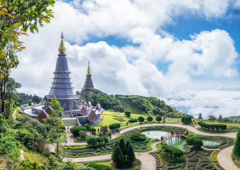Phra Maha Dhatu Nabha Metaneedol, two pagoda landmark in valley on top mountain scenic, doi inthanon, chiang mai