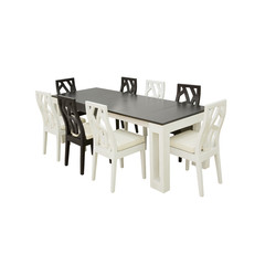 Wooden table and chairs, isolated