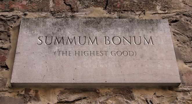 Summum bonum. A Latin expression meaning The highest good. West Virginia University at Parkersburg motto.