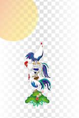 ニワトリと松の葉と日の出の酉年のイラスト年賀状ベクターeps 素材