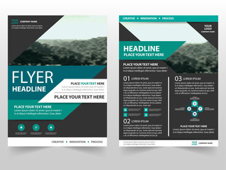 Green black Vector business proposal Leaflet Brochure Flyer template design, book cover layout design, abstract business presentation template, a4 size design