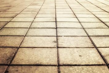 sunlight on paved cobblestone pavement