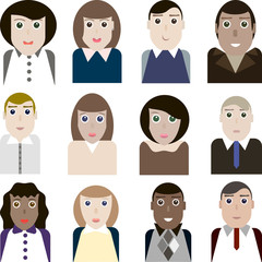 Set of vector portraits of female and male office workers