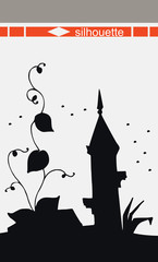 Silhouette of fairy tower. Vector illustration.