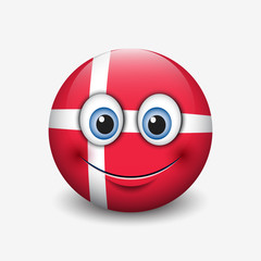 Cute emoticon isolated on white background with Denmark flag motive - smiley