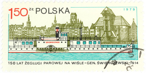 Old polish postage stamp - steamship