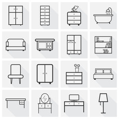 Furniture icons set. Flat vector illustration with long shadow on grey background. Universal icon for web design.
