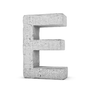 Concrete letter E isolated on white background