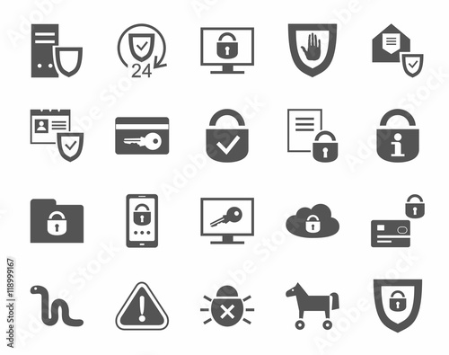"""""""Protection Of Information, Icons, Monochrome. Information"""