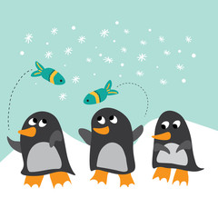 Winter scene with three cute penguins and flying fish