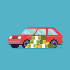 The poster of the car sale. A lot of money next to the machine. Red vehicle. Paper and metal money. Vector image in a flat style, isolated on a blue background.