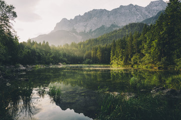 Mountains and woodland reflected in water