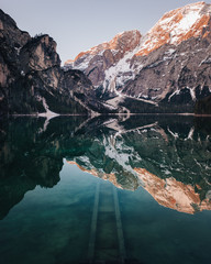 Mountains reflected in water