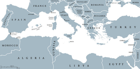 Mediterranean Sea Region countries political map with national borders. South Europe, North Africa and Near East with national borders. English labeling and scaling. Illustration. Wall mural