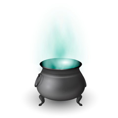 Cartoon Halloween witch cauldron with potion and stream isolated on white background. Black pot with magic brew. Vector illustration.