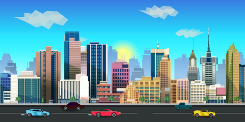 city game background 2d  application. Vector design.